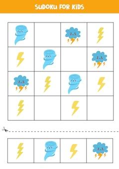 Sudoku voor kleuters. logisch spel met leuke weerelementen.