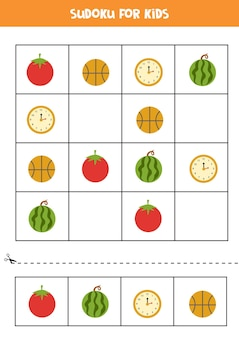 Sudoku voor kleuters. logisch spel met ronde objecten.