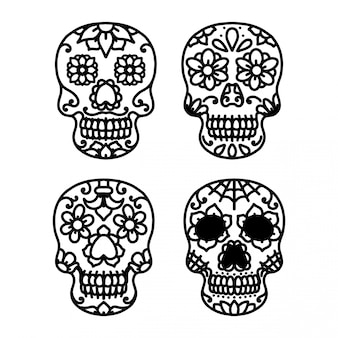 Sugar skull line tattoo