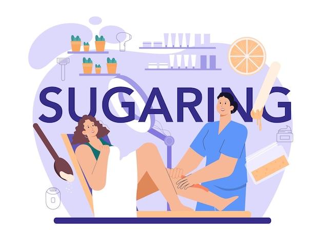 Sugaring typografische kopontharing en epileren ontharing