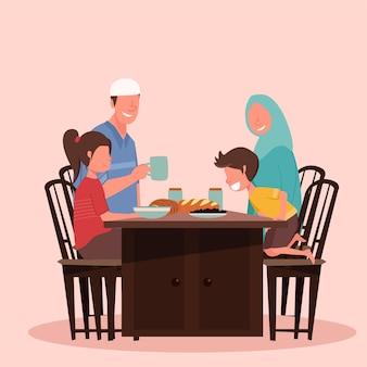 Suhoor en iftar-feest met familie tijdens de ramadan-maand