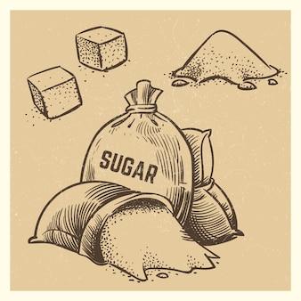 Suiker doodles collectie. schets suiker illustratie