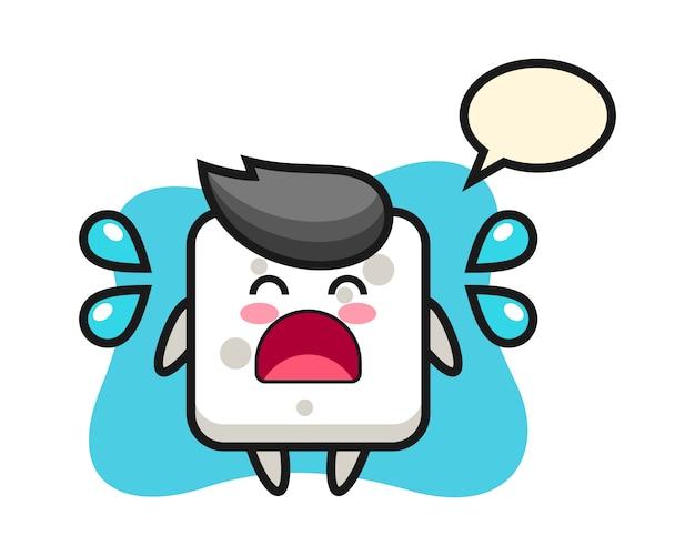 Suiker kubus cartoon afbeelding met huilend gebaar, leuke stijl voor t-shirt, sticker, logo-element