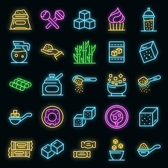 Suiker pictogrammen instellen. overzicht set van suiker vector iconen neon kleur op zwart