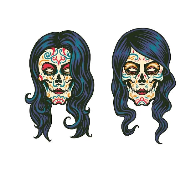 Suiker schedel meisje illustratie