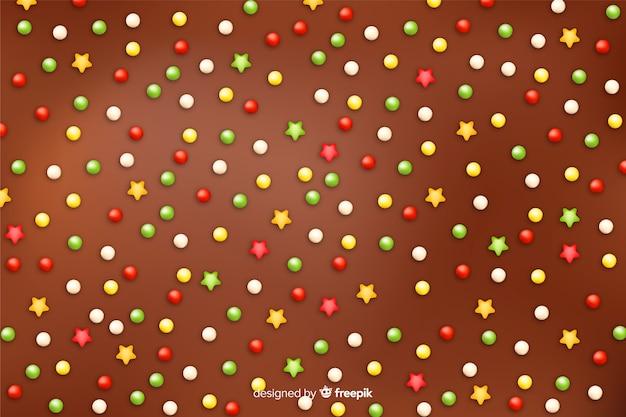 Suikerbellen van de heerlijke achtergrond van de chocoladedoughnut