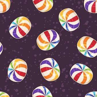 Suikergoed naadloos patroon, met harde suiker rond suikergoed op donkere achtergrond