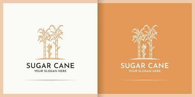 Suikerriet logo-ontwerp gebruik lijn kunststijl