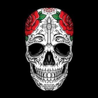 Suikerschedel met roos ornament