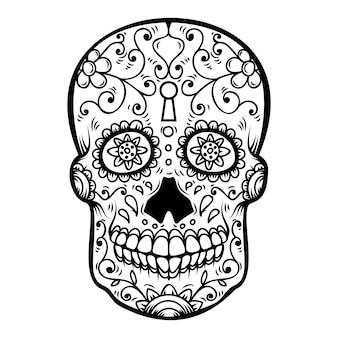 Suikerschedel op witte achtergrond. dag van de doden. dia de los muertos. element voor poster, kaart, banner, print. illustratie