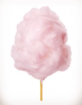 Suikerspin. suikerwolken. 3d. realistische illustratie