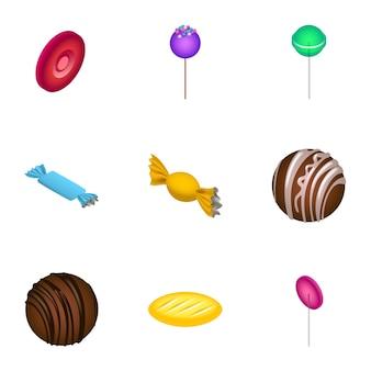 Suikersuikergoed pictogramserie. isometrische set van 9 suikerspinnen pictogrammen