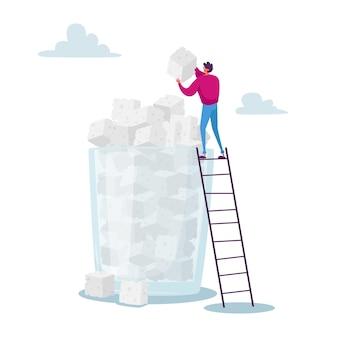 Suikerverslaving concept. kleine mannelijke personage staan op ladder zet suikerkubus bovenop enorme stapel in glas