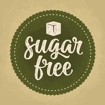 Suikervrije belettering met kubus vector beige vintage illustratie op donkergroene cirkel sticker