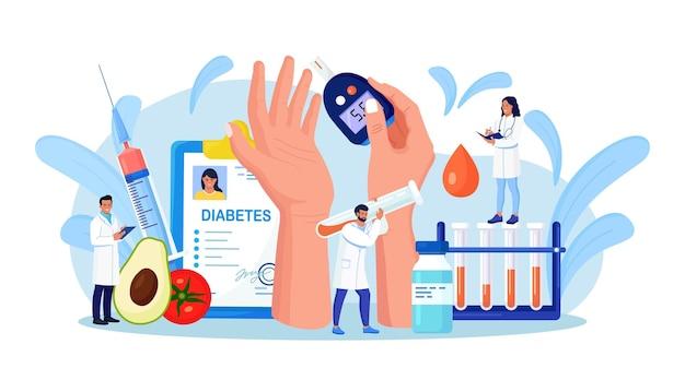 Suikerziekte. artsen die bloed testen op glucose, met behulp van glucometer voor diagnose van hypoglykemie of hyperglykemie. laboratoriumapparatuur, spuit. arts die suikerniveau meet. wereld diabetes bewustzijn dag