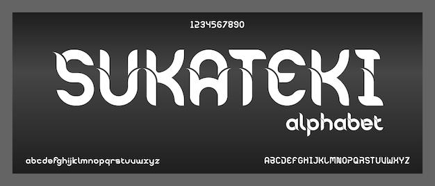 Sukateki, abstract elegant modern alfabet met stedelijke stijlsjabloon