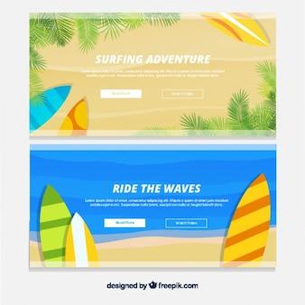 Summer banners met surfplanken