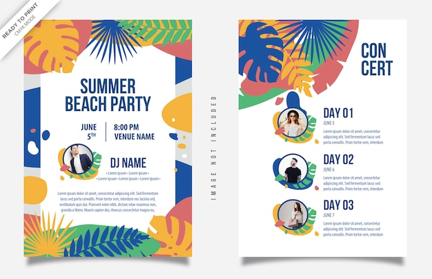 Summer beach party kleurrijke flyer