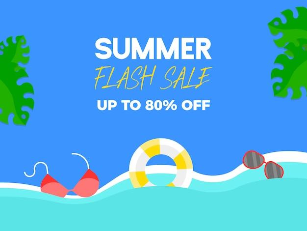 Summer flash sale banner, zomerelementen op het strand