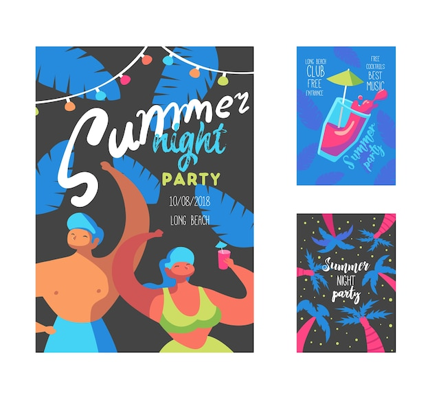 Summer night party-poster met platte mensen-personages en palmen