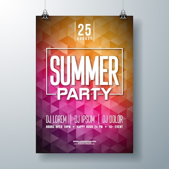 Summer party flyer of poster sjabloonontwerp met typografie en moderne stijl