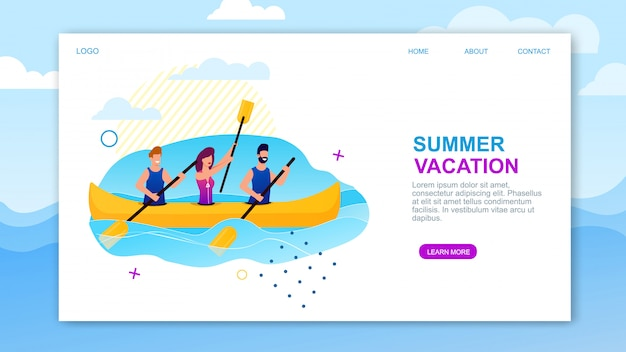 Summer vacation landing page offering sea rowing.