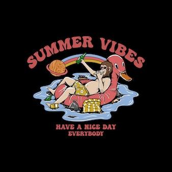 Summer vibes aap geniet van vectorillustratieontwerp