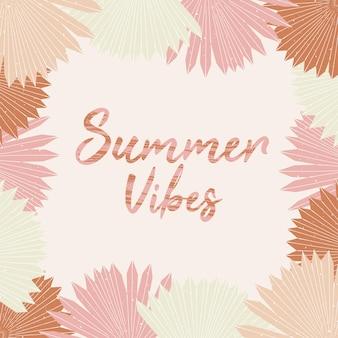 Summer vibes poster handgetekende letters met tropische palmbladeren