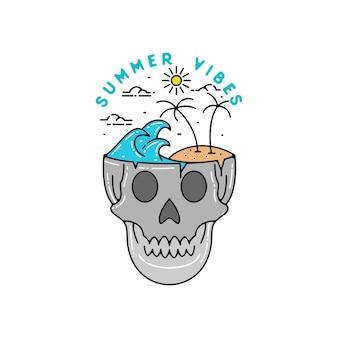 Summer vibes skull monoline