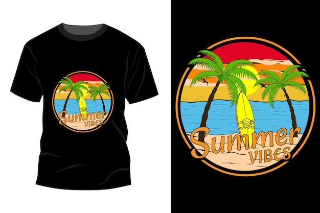 Summer vibes t-shirt mockup ontwerp vintage retro