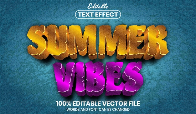 Summer vibes-tekst, bewerkbaar teksteffect in lettertypestijl