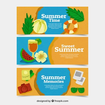 Summertime banners set wih elementen