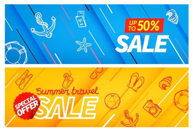 Summertravel verkoop kleur banner set,