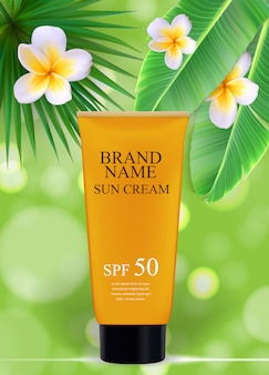 Sun care cream bottle, tube template