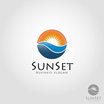 Sun set logo template