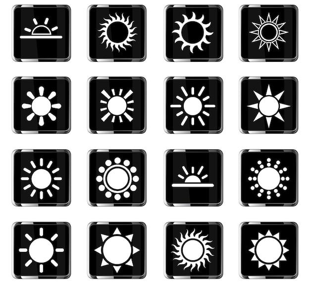 Sun-webpictogrammen voor ontwerp van gebruikersinterface