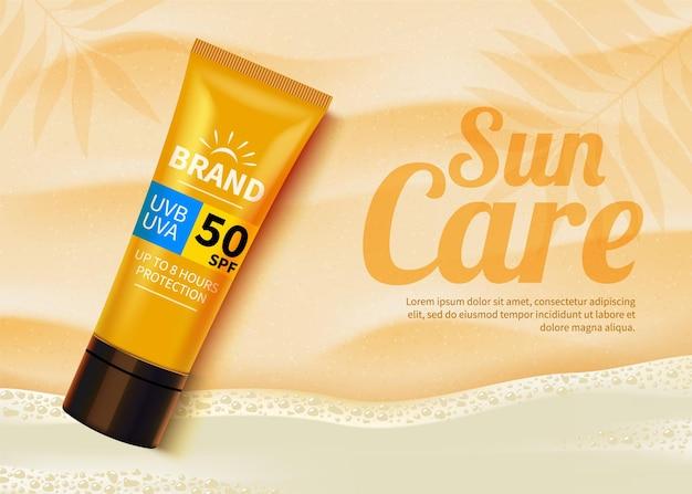 Sunblock advertentiesjabloon, cosmetische producten voor bescherming tegen de zon met vochtinbrengende crème of vloeistof.