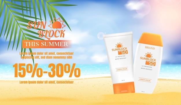 Sunblock lotion met kokosbladeren en strandzand