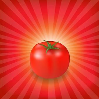 Sunburst achtergrond met rode tomaat, illustratie