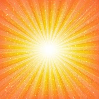 Sunburst achtergrond met sterren met verloopnet, illustratie