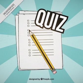 Sunburst achtergrond van de vragenlijst met potlood