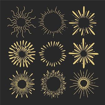 Sunburst collectie met de hand getekend