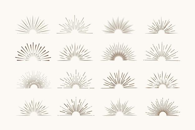 Sunburst frames in retro stijl op lichte achtergrond. starburst-label. licht spandoek.