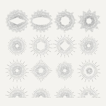 Sunburst illustraties set. cirkel vormt elementen. afbeeldingen. lineaire radiale vintage sunburst, set tekening starburst