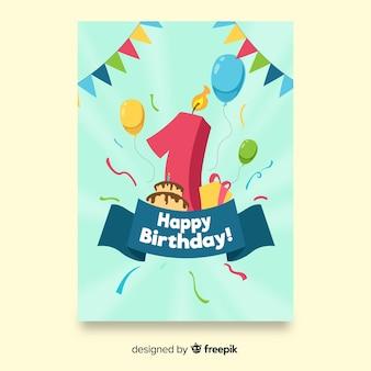 Sunburst kaars eerste verjaardagskaart sjabloon