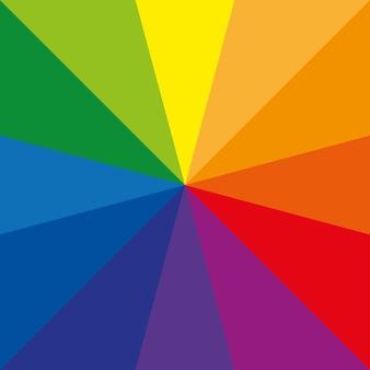 Sunburst-kleurenwiel of kleurencirkel met twaalf kleuren die primaire kleuren toont