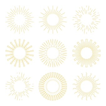 Sunburst-pakket in handgetekende stijl