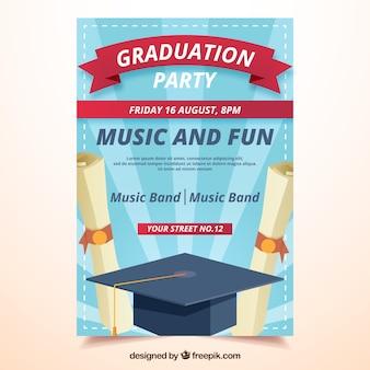 Sunburst party brochure met diploma's en afstudeer cap