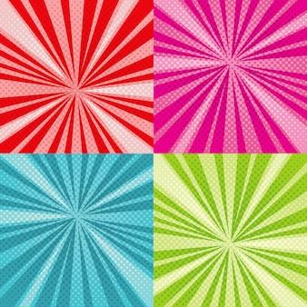 Sunburst stralen komische pop-art vector achtergronden instellen