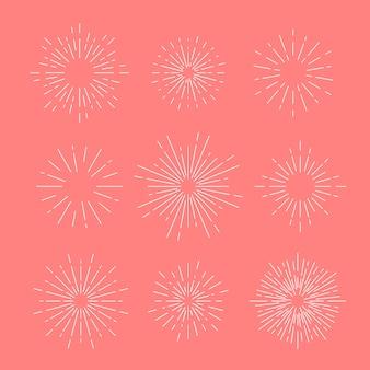 Sunburst vector ingesteld op roze